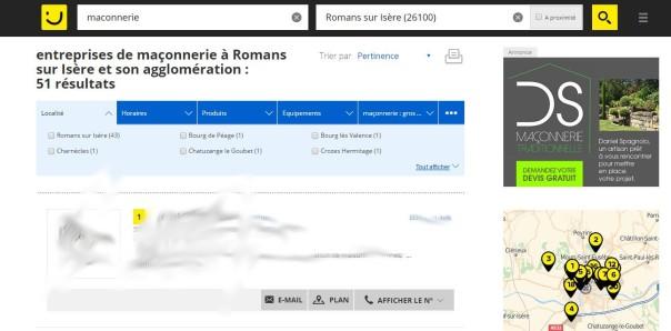 Notre publicité visible sur le site pagesjaunes.fr